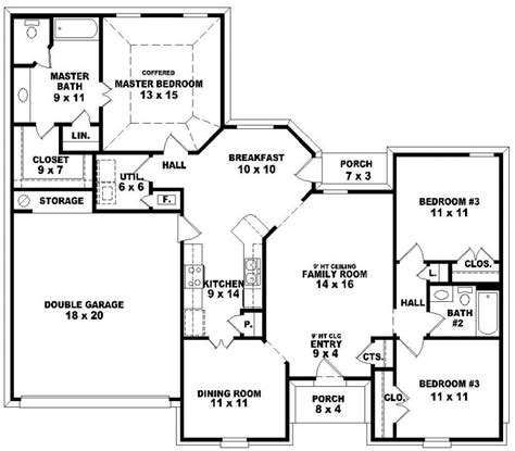 3 Bedroom 2 Bath House Plans 654113 One Story 3 Bedroom 2 Bath Traditional