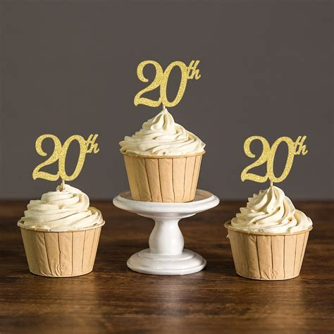 20th Cupcake Toppers,Gold/Silver/Black Glitter Food Picks