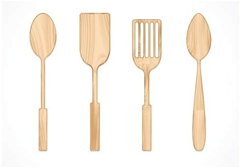 Free Vector Wooden Spoon Set Download Free Vector Art Stock Graphics Images Wooden Spatula Template