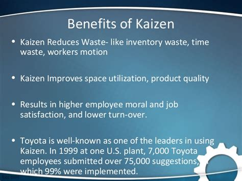 Toyota Employee Benefits Kaizen And 5s Technique Study