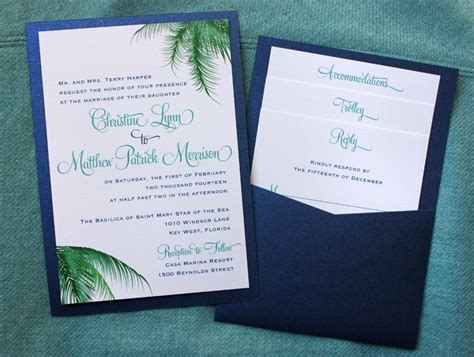 Pocket Invitations by Teal Blue Green Palm Fronds Clutch Pocket Invitations