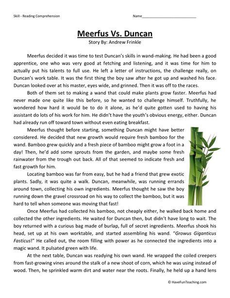 Fourth Grade Reading Worksheets by Reading Comprehension Worksheet Meerfus Vs Duncan