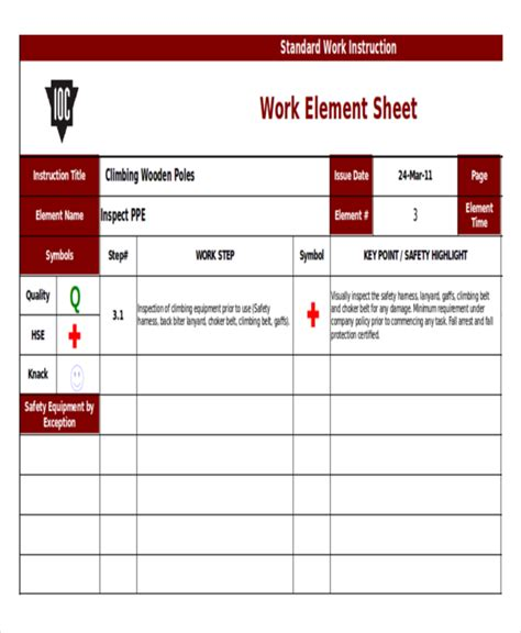 standard work excel template 10 templates free sle exle format