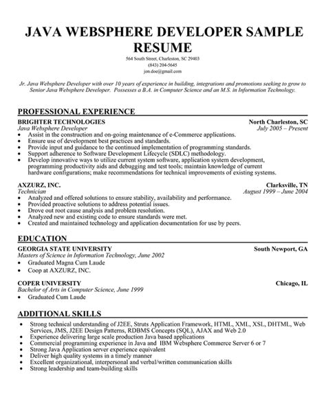 java resume format java developer resume template business