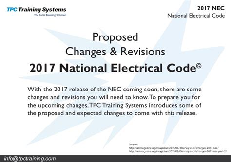national electrical code 2017 proposed changes revisions to the 2017 national