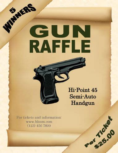 16 Free Raffle Flyer Templates Prize Cash 50 50 Fundraising And More Gun Raffle Ticket Template