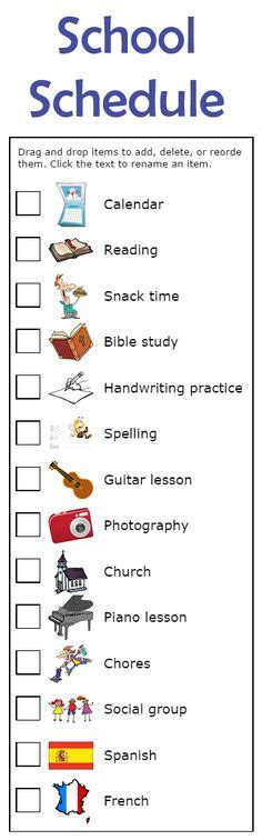 printable daily schedule for adhd child 1000 images about new clipart activities for the trip