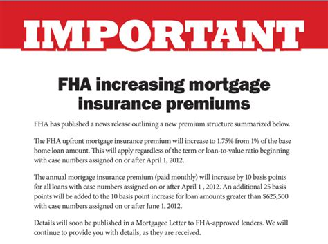 Mortgagee Letter Fha Mip Carrasco Real Estate Co March 2012