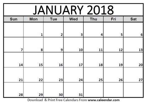 printable calendar for january 2018 january 2018 calendar templates caleendar com
