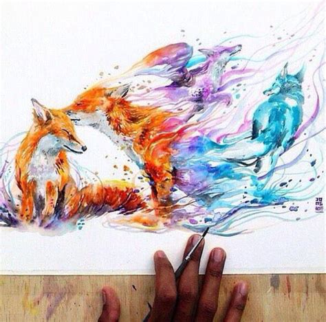 25 best ideas about watercolor fox tattoos on