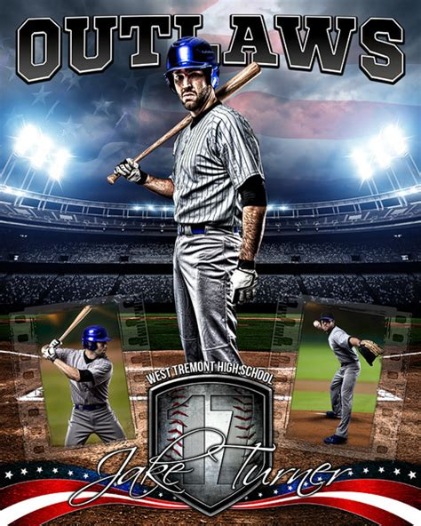 American Baseball Photo Collage Layered Photoshop Sports Template Baseball Photo Templates Photoshop