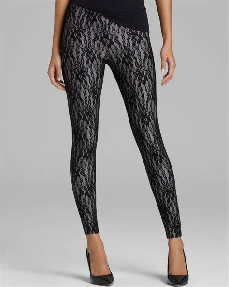Lace Legging hue lace in gray metallic lyst