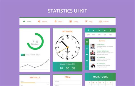 Statistics Template statistics ui kit flat bootstrap responsive web template