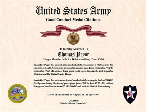 army conduct medal certificate template army certificate of achievement template exle images