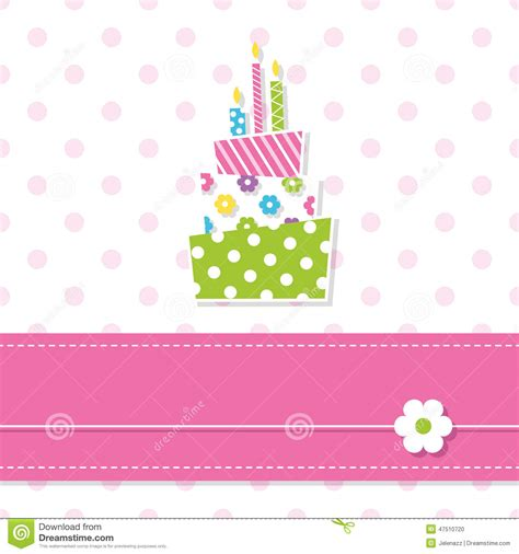 birthday pattern pink vector baby girl birthday cake stock vector image 47510720