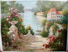 Paintings Of Flower Gardens Paintings Of Flower Gardens Painting Reproductions Garden Painting Painting