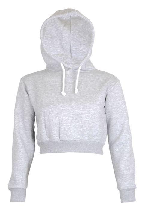 Plain Cropped Hoodie womens plain crop top hoodie