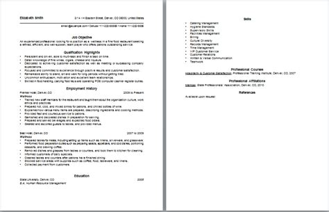 waitress resume free layout format