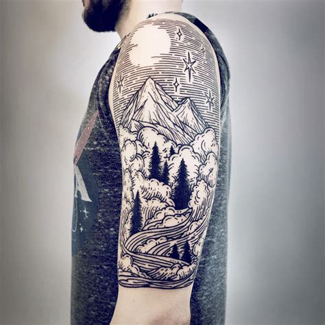 imaginative half sleeve landscape tattoos by lisa orth