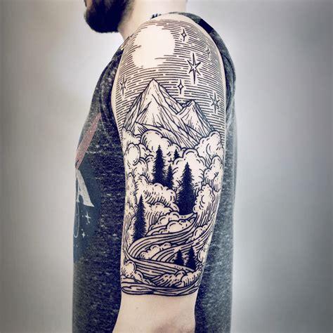 imaginative half sleeve landscape tattoos by lisa orth