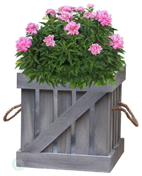 Farmhouse Planters distressed wood crate planter farmhouse outdoor pots