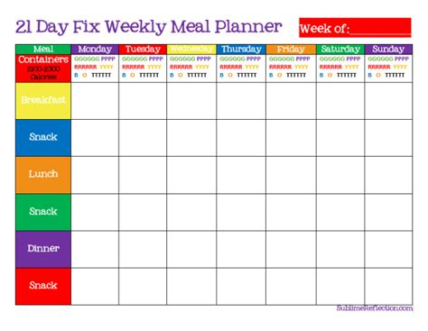 easy printable meal planner how to create a 21 day fix meal plan weekly meal planner