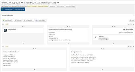 zweispaltiges layout wordpress integrationsanleitung kfz web plugin f 252 r wordpress