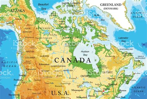 map usa canada alaska physical map of canada stock vector more images of