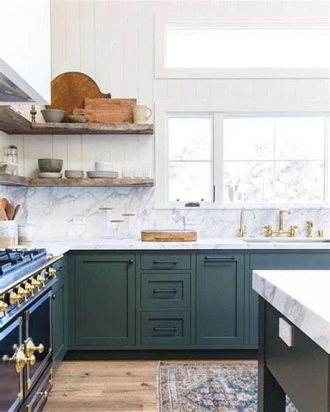 kitchens with shelves green green kitchen see this instagram post by amberinteriors