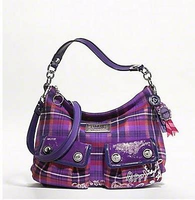 Tas Coach Hobo 3029 coach poppy tartan berry hobo bag 16120