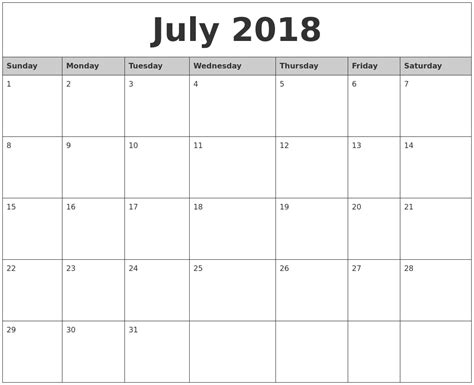 printable calendar monthly 2018 july 2018 monthly calendar printable