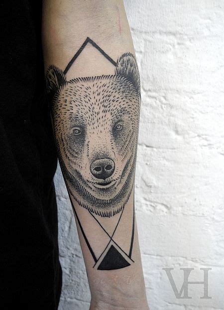 geometric bear tattoo tattoo bear geometric arm triangle tattoo