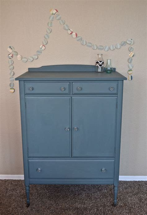 blue and white chalk painted dresser glitter glue furniture slate blue chalk paint