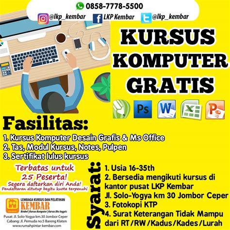 kursus online desain grafis gratis kursus komputer desain grafis ms office gratis loker