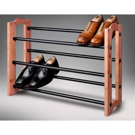 Woodlore Shoe Rack by Woodlore Expandable 3 Tiered Cedar And Metal Shoe Rack