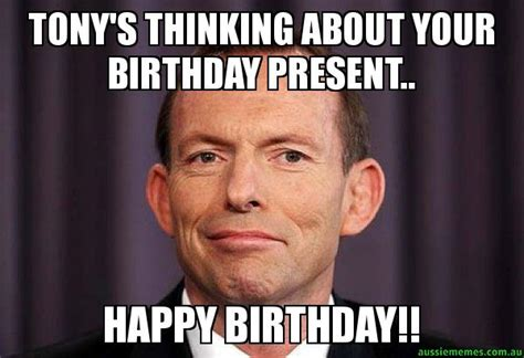 Tony Meme - tony s thinking about your birthday present happy