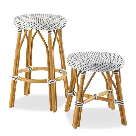 Woven Stools by Rattan White And Gray Stools