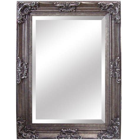 Wood Frame Mirror For Bathroom Yosemite Home Decor 35 In X 46 In Rectangular Decorative Antique Wood Resin Framed Mirror