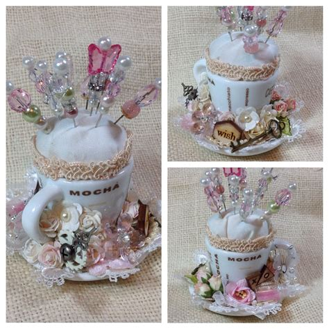 Cup And Saucer Shabby shabby chic pin cushion using miniature teacup saucer