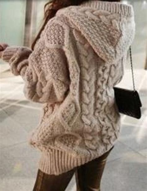 Hooded Knit Sweater apricot hooded sleeve cardigan sweater coat