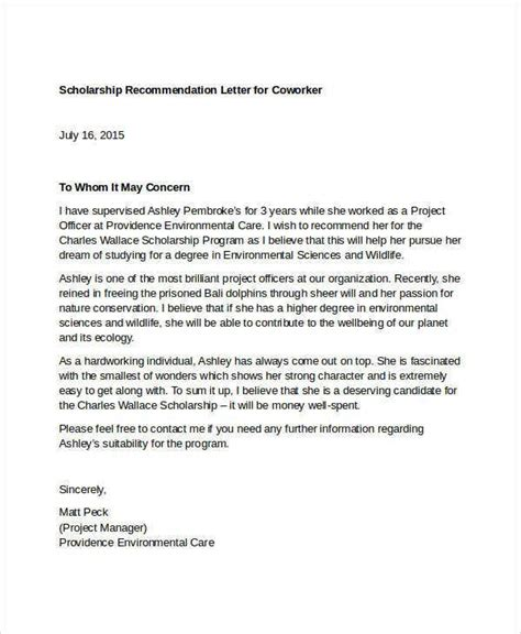 coworker recommendation letter templates