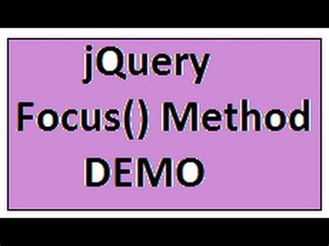 jquery tutorial in tamil tamil focus method in jquery demo youtube
