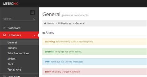 documentation metronic admin dashboard template