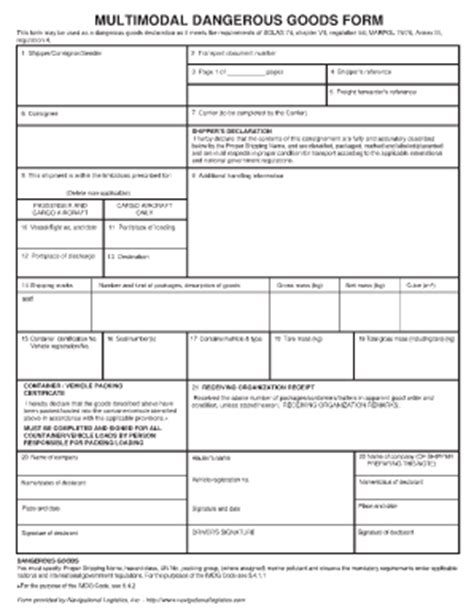 tdg shipping document template 187 dangerous goods transport documentation requirements for fcl