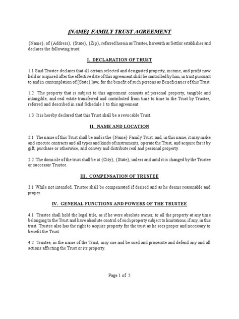 trust agreement images agreement exle ideas