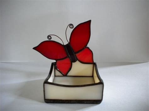 candlestick butterfly pattern stained glass butterfly candle holder or trinket tray