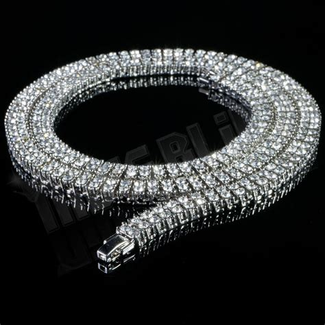 White Gold With Silver Chain 010 14k white gold 2 row clear cz iced out silver chain hip hop chain necklace ebay