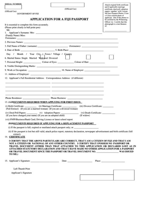 full birth certificate for passport application application form for a fiji passport printable pdf download