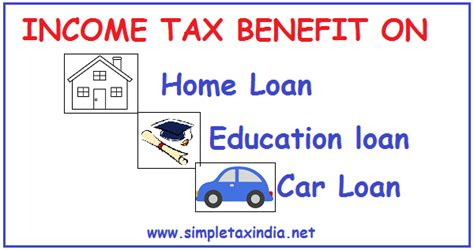 housing loan income tax benefit income tax benefit on home loan education loan car loan simple tax india