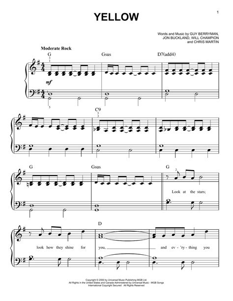 coldplay chords yellow yellow sheet music by coldplay easy piano 96468